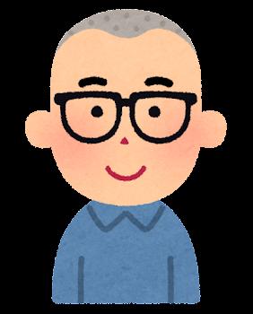 坊主頭の男性のイラスト(眼鏡)