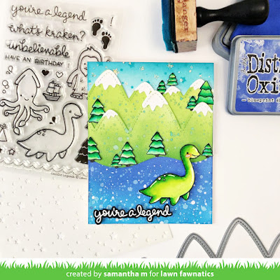 You're a Legend Card by Samantha Mann for Lawn Fawnatics Challenge, Lawn Fawn, Loch Ness, Distress Inks, Ink Blending, Nessie, Card, Card Making, Travel, #lawnfawnatics #lawnfawn #distressinks #inkblending #travel #lochness #legend