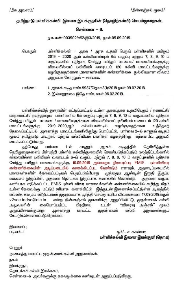 விலையில்லாப் புவியியல் வரைப்படம் 120 கல்வி மாவட்டங்களுக்கு வழங்குவதற்கான ஆணை