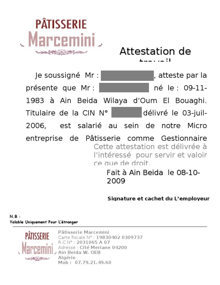 Modèles d'attestations de travail word doc et images   Cours génie civil - Outils, livres ...