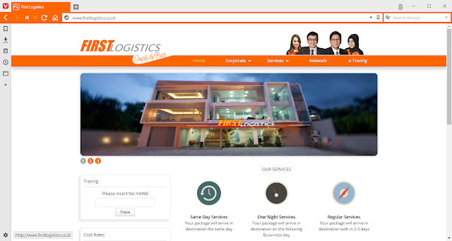 Tampilan Website First Logistics