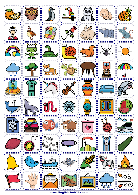 Vocabulary picture cards for the printable alphabet game