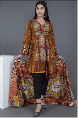 Brown and maroon khaddar 2 piece suit with printed dupatta