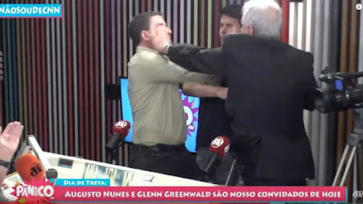 Agressão de Augusto Nunes a Glenn Greenwald