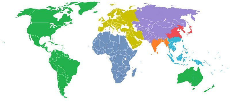 Map shows how the world population can be divided into equal areas of 1 billion residents.