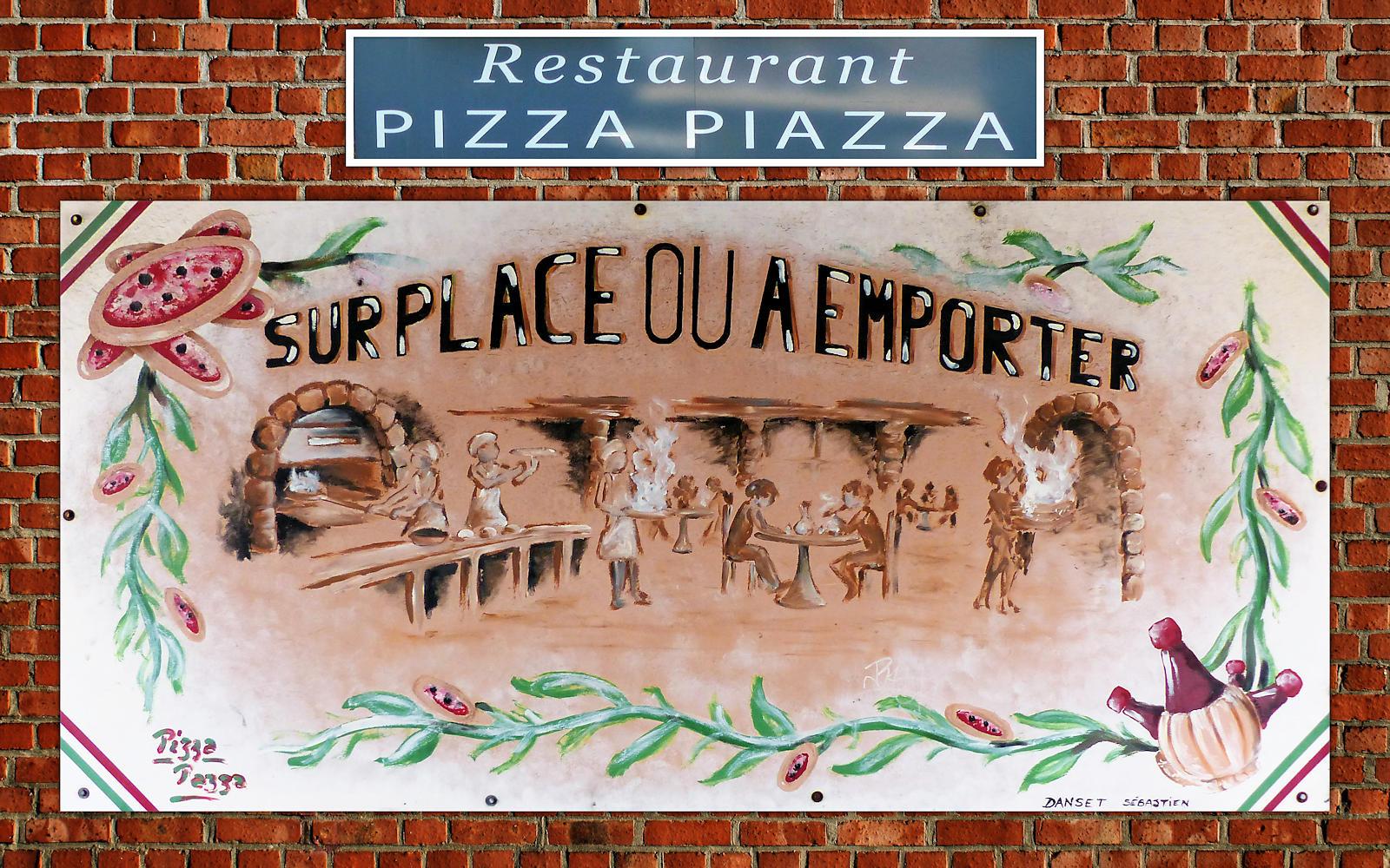 Pizza Piazza Tourcoing - Fresque de Sébastien Danset.