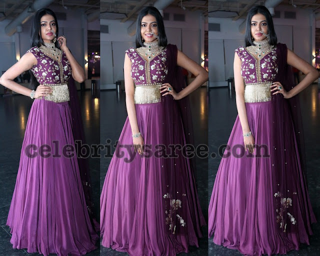 Shivani Rajashekar Purple Long Frock