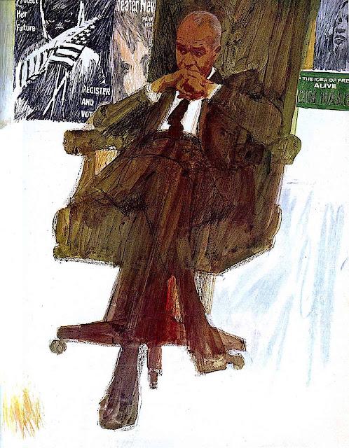 a Bernie Fuchs illustration of a USA politician thinking