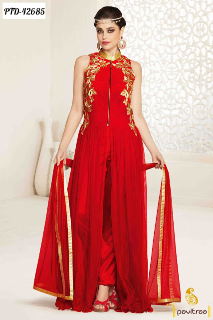 Karva Chauth and Diwali festival special red net anarkali salwar suits online shopping at pavitraa.in