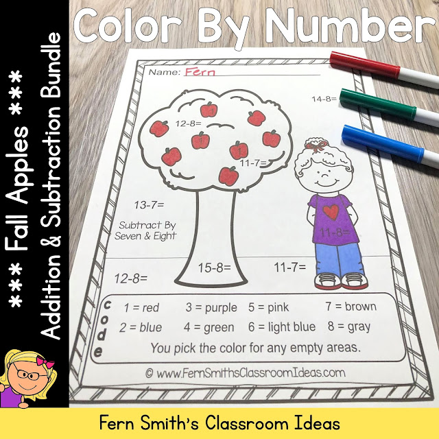 Click Here to Download These Fall Color By Number Addition and Subtraction Apple Themed Printables For Your Students Today!