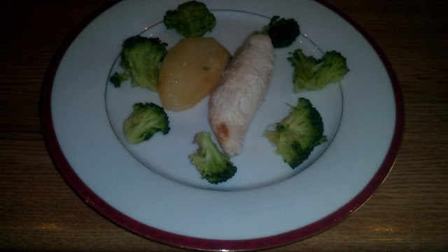 baked monkfish with steamed broccoli