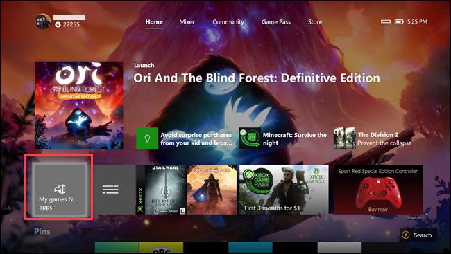 تطبيق Xbox one مع مربع حول خيار ألعابي وتطبيقاتي.