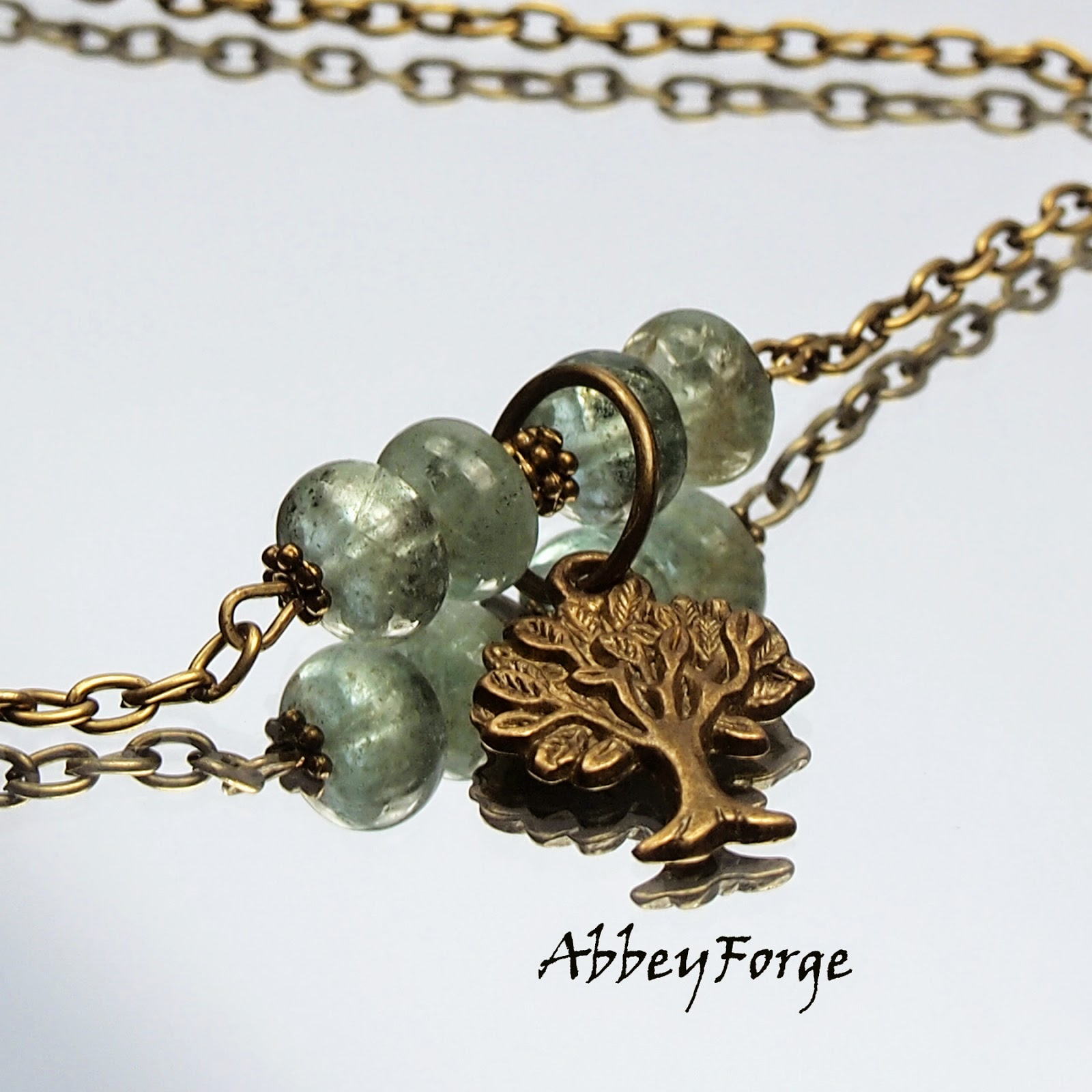 Moss Aquamarine Tree of Life Vintage Bronze Necklace. For Her. March Birthstone Gift.