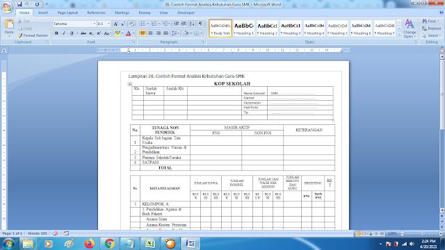 Terbaru Contoh Format Analisis Kebutuhan Guru SMK Swasta doc
