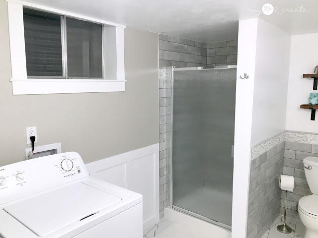 new shower door and window trim