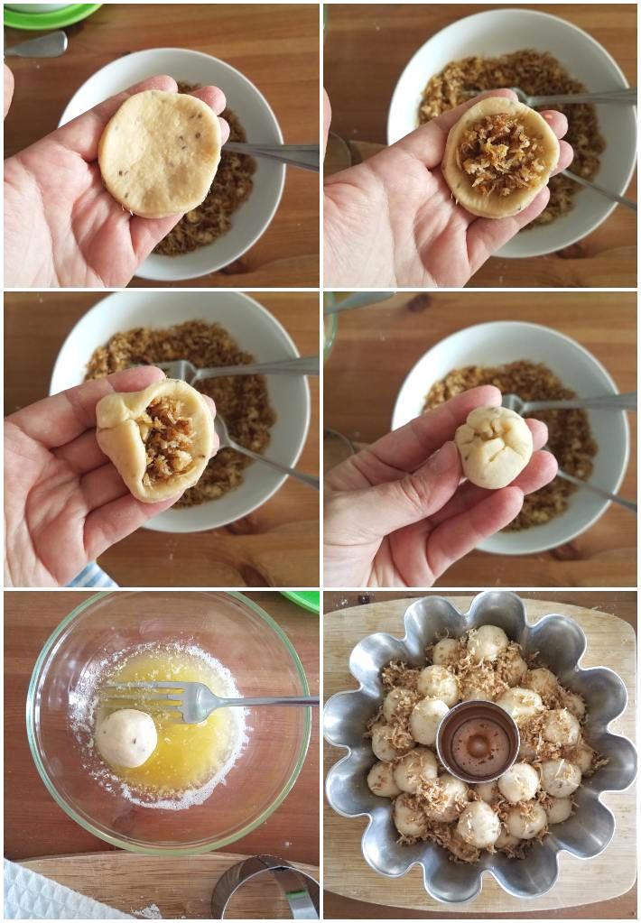 Formando el pan de mono o monkey bred con el relleno de golfeado