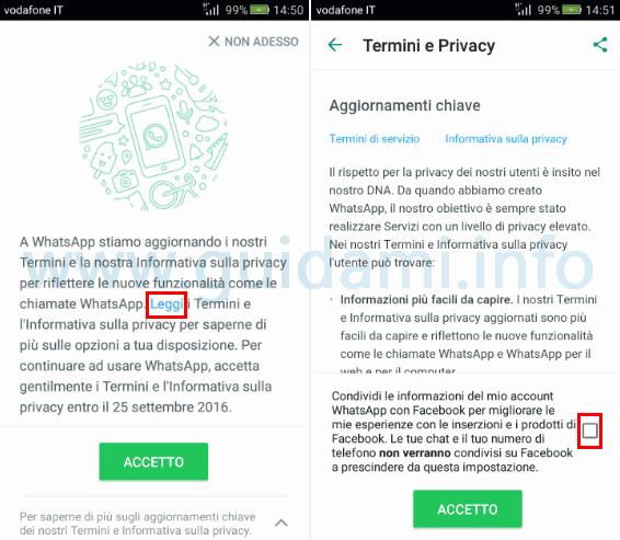 WhatsApp disattivare invio dati a Facebook