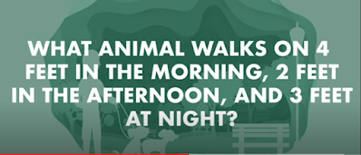 Figure: what animal walks on 4 feet in the morning, 2 feet in the afternoon, and 3 feet at night
