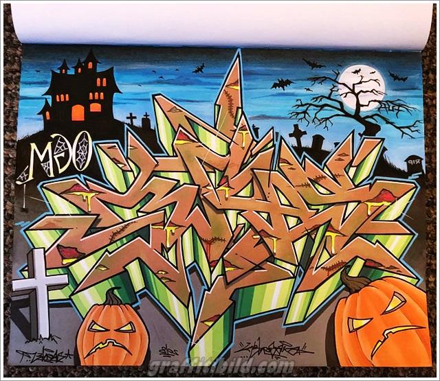 Halloween, graffiti, street art, kürbis, pumpkins, graffiti wall