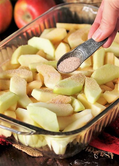 Sprinkling Cinnamon on Sliced Apples to Make Mom's Apple Crisp Image