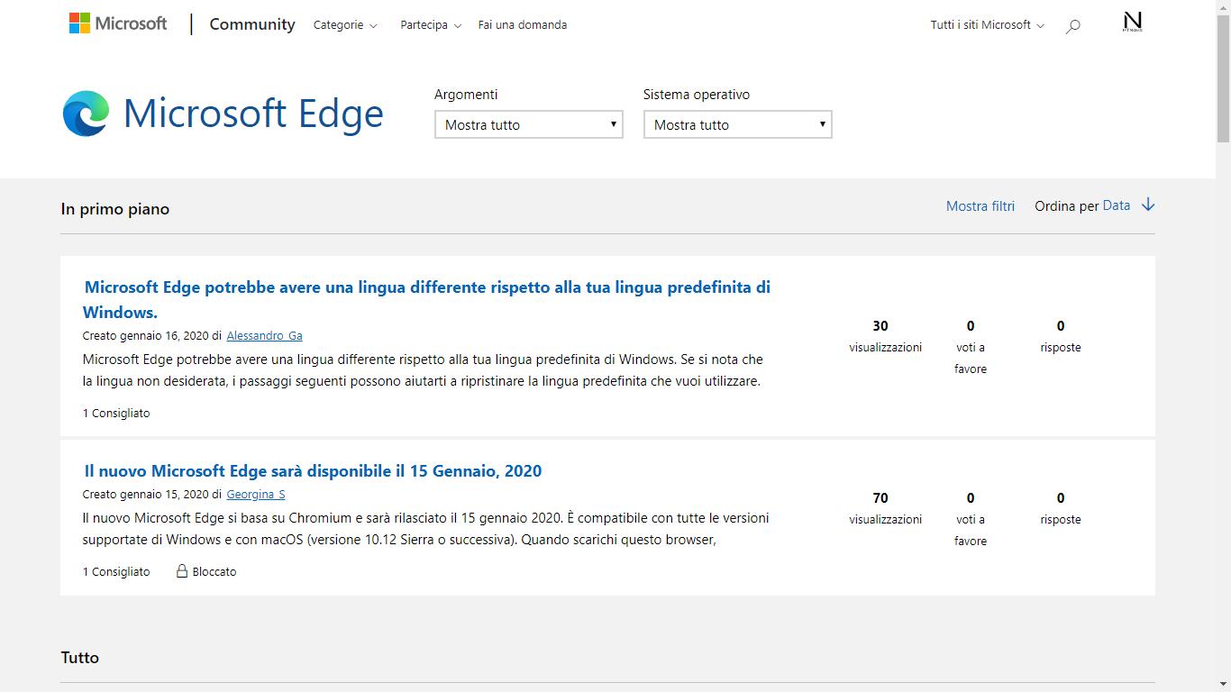 Nuova sezione Microsoft Edge Chromium in Microsoft Community