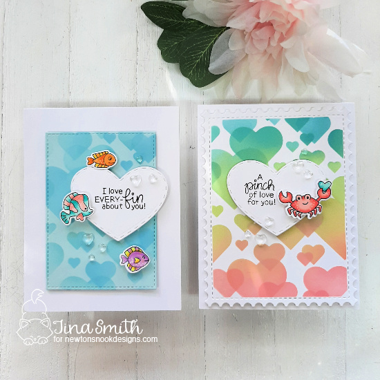 Fish Valentines by Tina Smith | Tides of Love Stamp Set Stamp Set, Bokeh Hearts Stencil Set, Darling Hearts Die Set and Framework Die Set by Newton's Nook Designs #newtonsnook #handmade