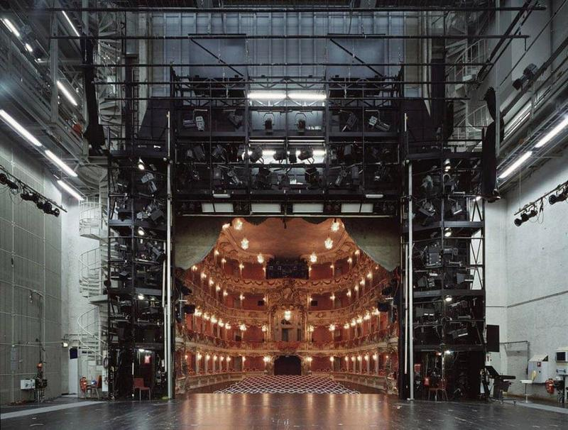 Photos of the theater scene from behind the curtains