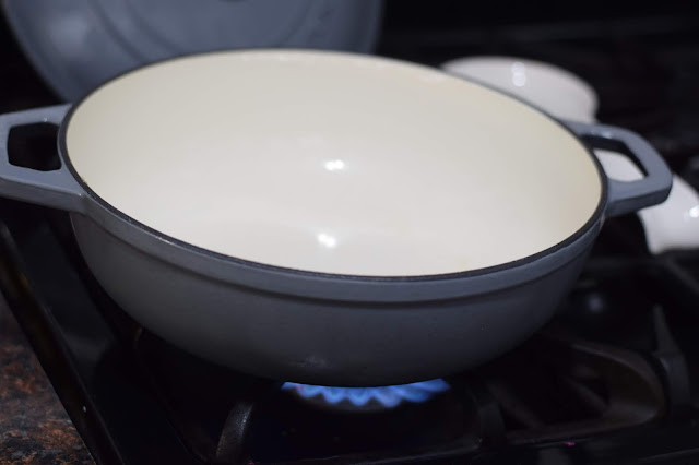 A large pan on the stove.