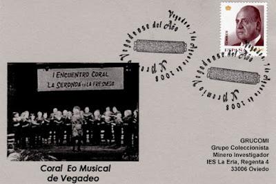 tarjeta, filatelia, matasellos, Vegadeo, Eo Musical