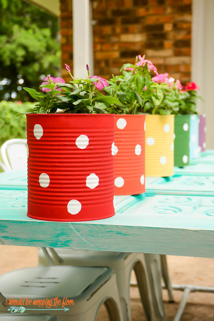Rainbow Polka Dot Cans