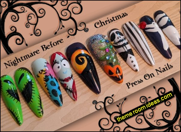 Nightmare Before Christmas decorating with Press On Nails