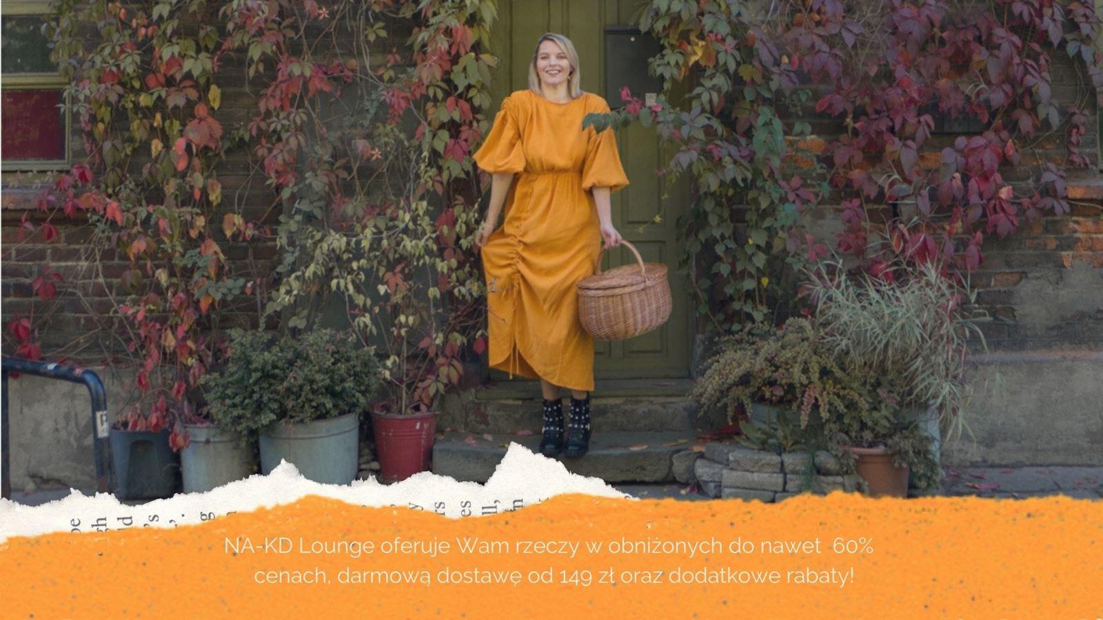 1 pomarańczowa sukienka na-kd lounge kod zniżkowy jesienna stylizacja autumn outfit blog blogerka łódź modowa współpraca stylizacje