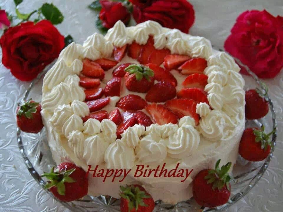 Happy Birthday Cake With Strawberry And Cream