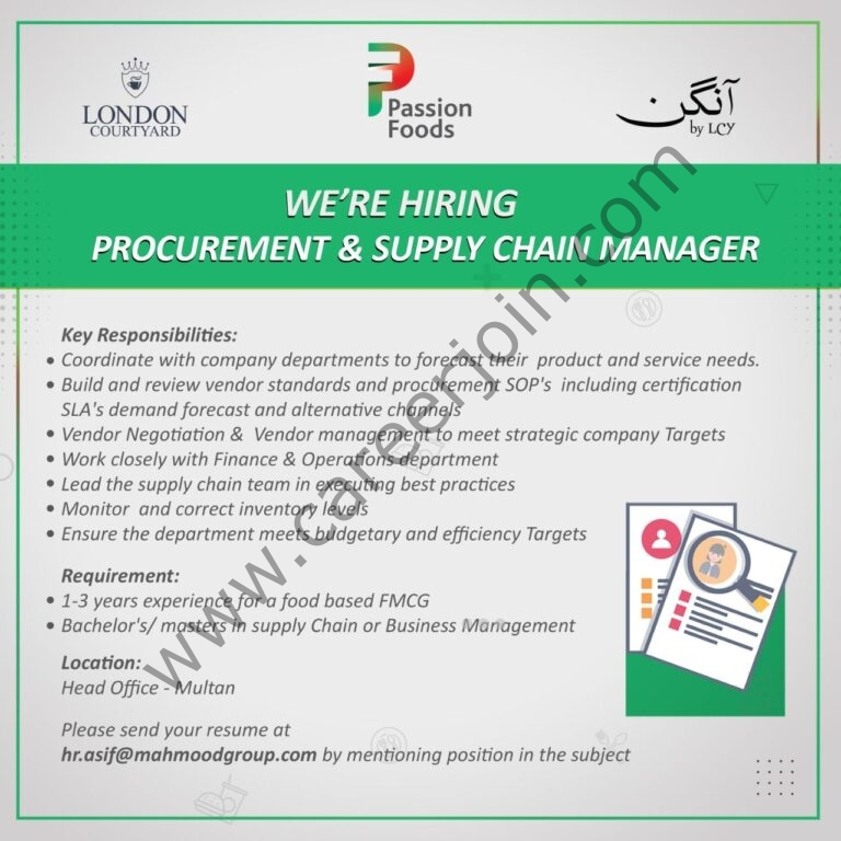 Mahmood Group of Industries Jobs Procurement & Supply Chain Manager