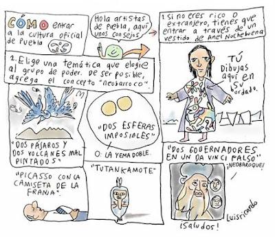 Historieta sobre la cultura oficial en la Puebla de Moreno Valle, Por Luis Ricardo. Con Anel Nochebuena y Esteban Fuentes de María