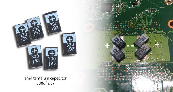 nec tokin replacement smd tantalum capacitor 330 2.5v