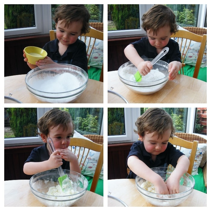 Making Coconut Ice - Step 2 - adding condensed milk to the mixture and mixing