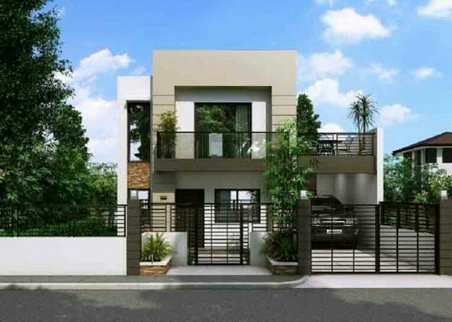 2-storey house design with an open balcony