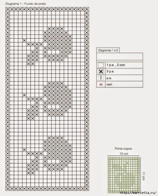 Mantel individual con servilleta tejidos al crochet - con diagrama y ...