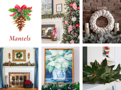 mantels decorated for Christmas collage photo