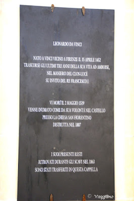 Leonardo da Vinci, la lapide nella Cappella di Saint Hubert