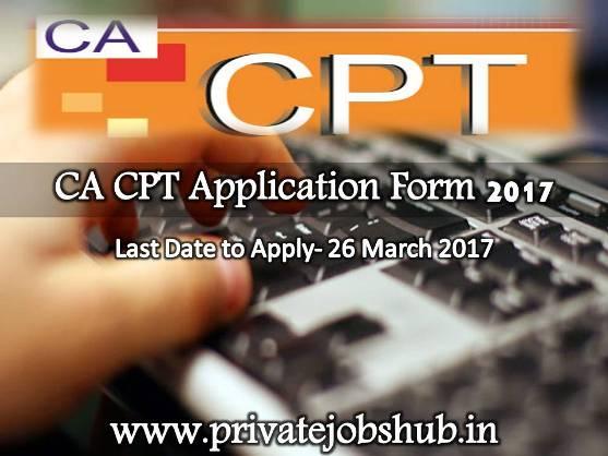 Online CA CPT Application Form 2017 Registration Details