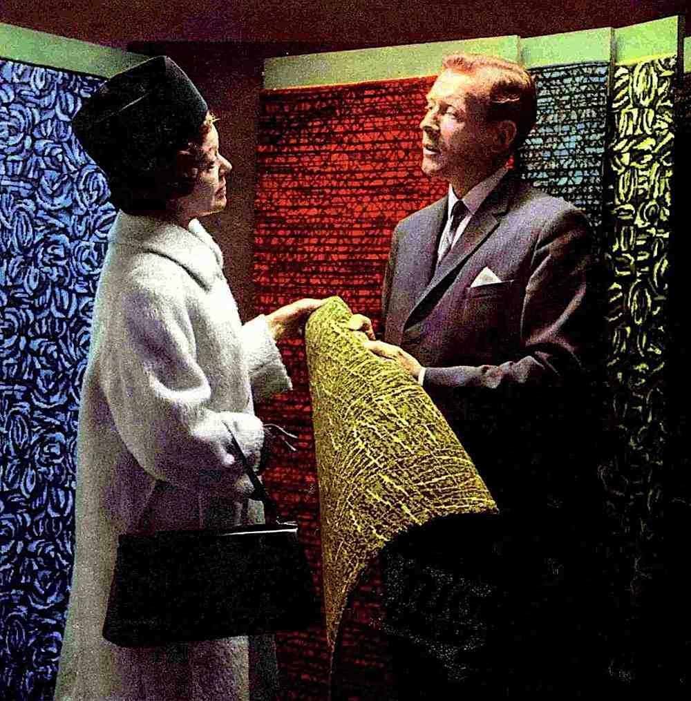 A 1968 carpet salesman with customer, a color photograph