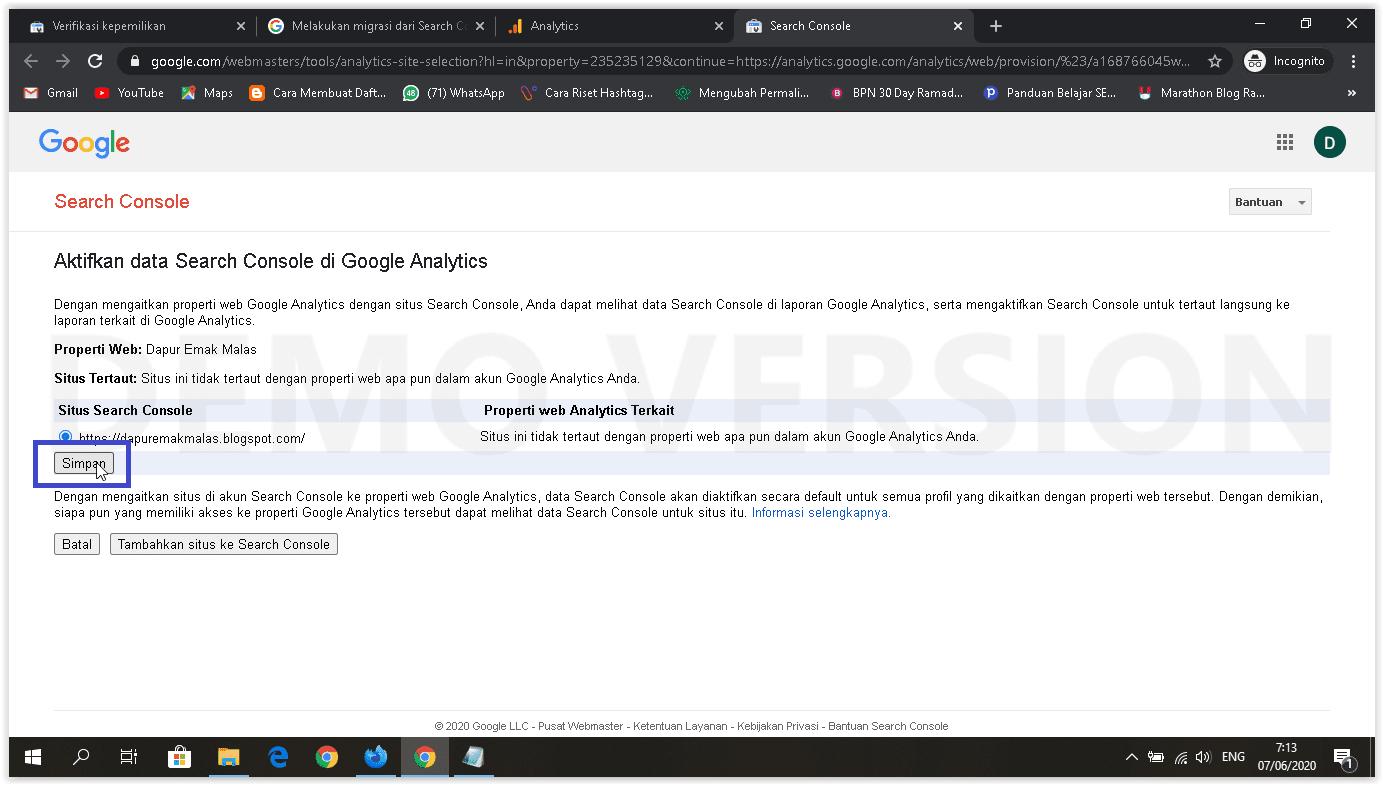 pilih situs di GSC koneksikan ke GA