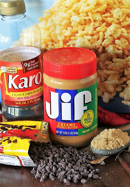 Peanut Butter Chocolate Chip Rice Krispies Treats Ingredients Image