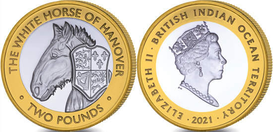 British Indian Ocean Territory 2 pounds 2021 - The Queen's Beasts - The White Horse of Hanover