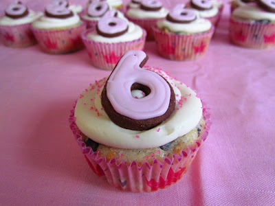6th Birthday Cupcakes in Pink Cupcake Liner