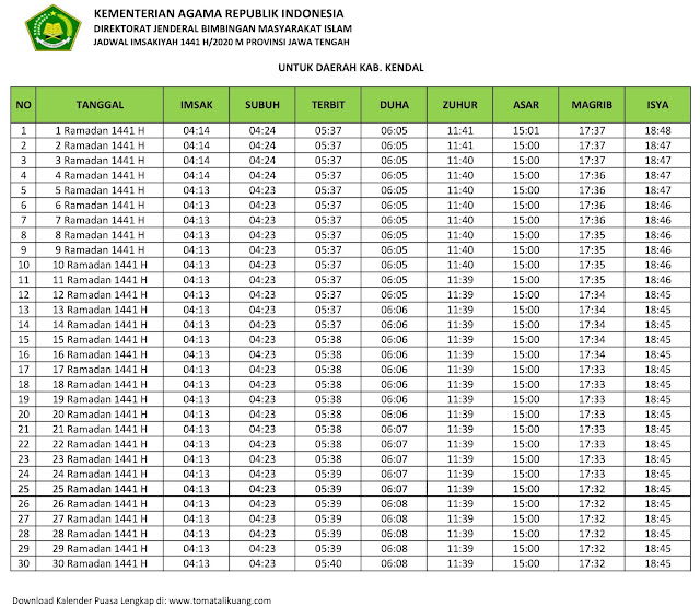 jadwal imsak waktu buka puasa kabupaten Kendal 2020 m ramadhan 1441 h tomatalikuang.com