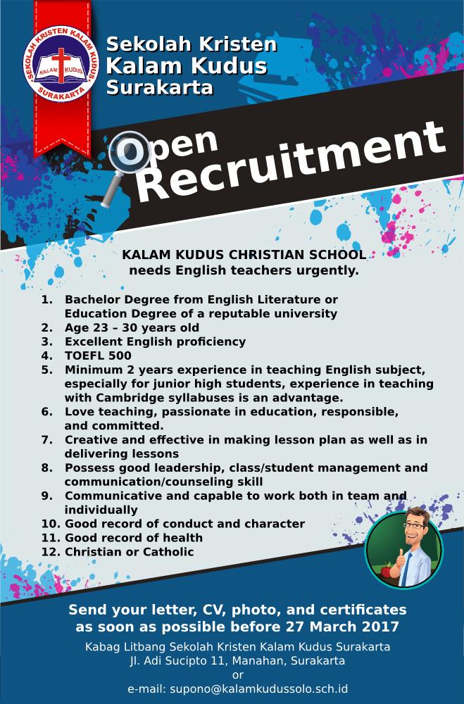 Lowongan Kerja Sekolah Kristen Kalam Kudus Surakarta - English Teachers