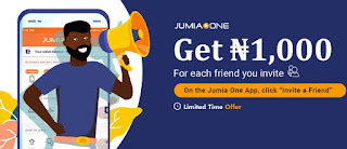 Get 1k from jumia one app on each refferl